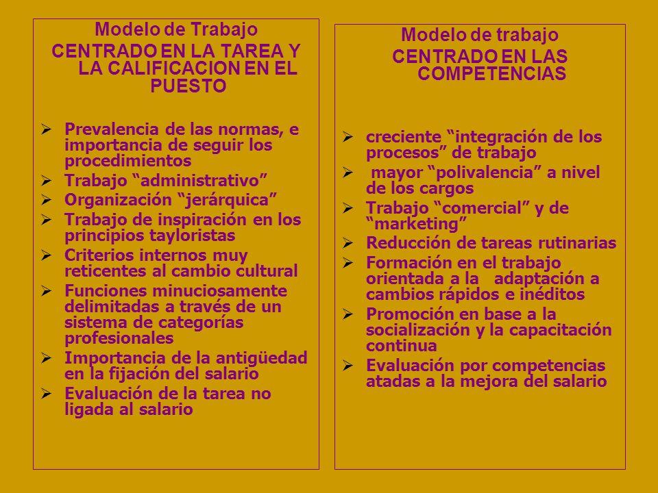 CENTRADO EN LA TAREA Y LA CALIFICACION EN EL PUESTO Modelo de trabajo