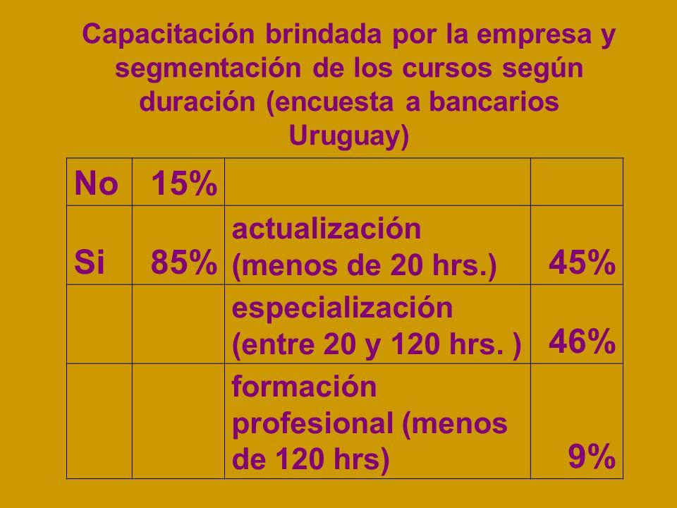 No 15% Si 85% 45% 46% 9% actualización (menos de 20 hrs.)