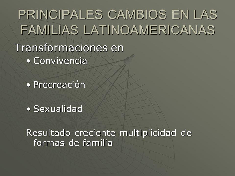 PRINCIPALES CAMBIOS EN LAS FAMILIAS LATINOAMERICANAS