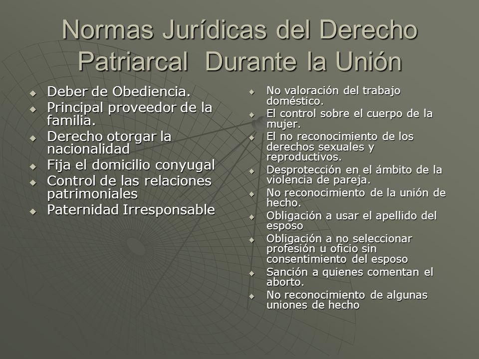 Normas Jurídicas del Derecho Patriarcal Durante la Unión
