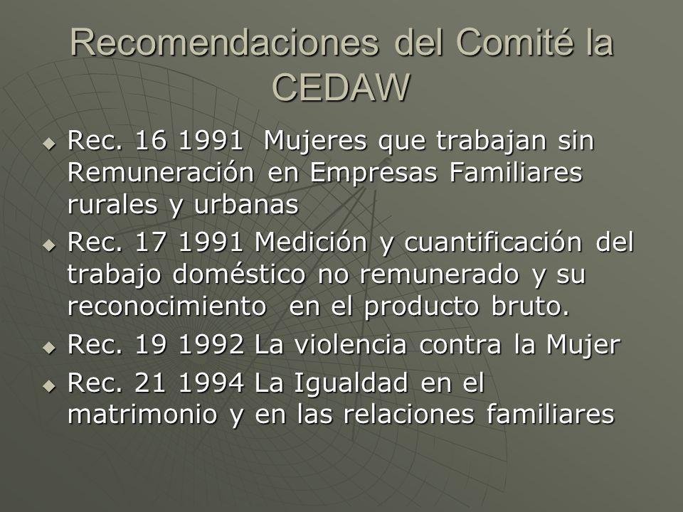 Recomendaciones del Comité la CEDAW