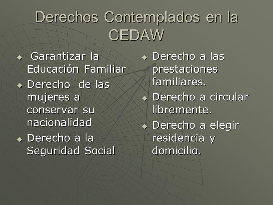 Derechos Contemplados en la CEDAW