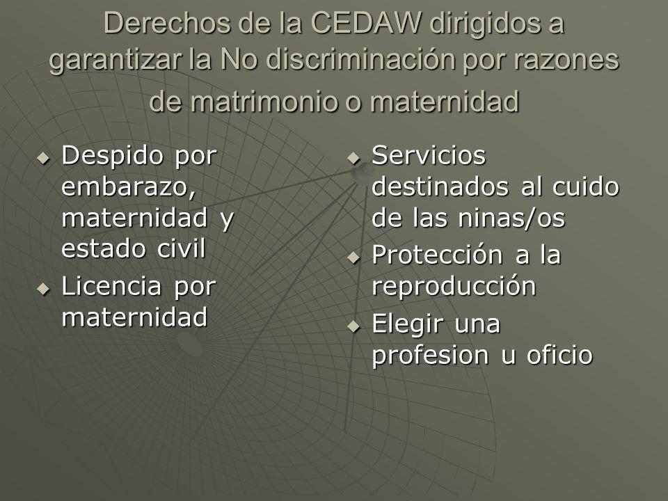 Derechos de la CEDAW dirigidos a garantizar la No discriminación por razones de matrimonio o maternidad