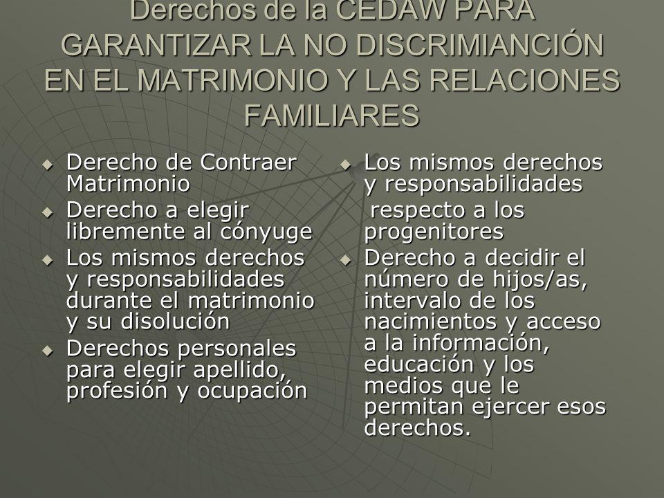 Derechos de la CEDAW PARA GARANTIZAR LA NO DISCRIMIANCIÓN EN EL MATRIMONIO Y LAS RELACIONES FAMILIARES