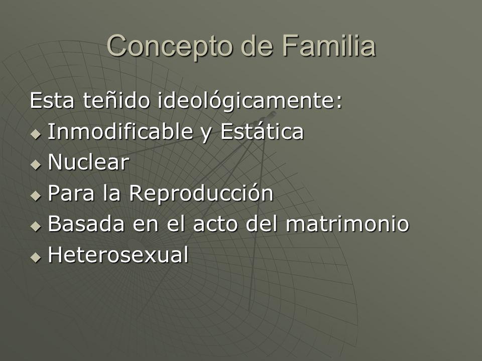Concepto de Familia Esta teñido ideológicamente: