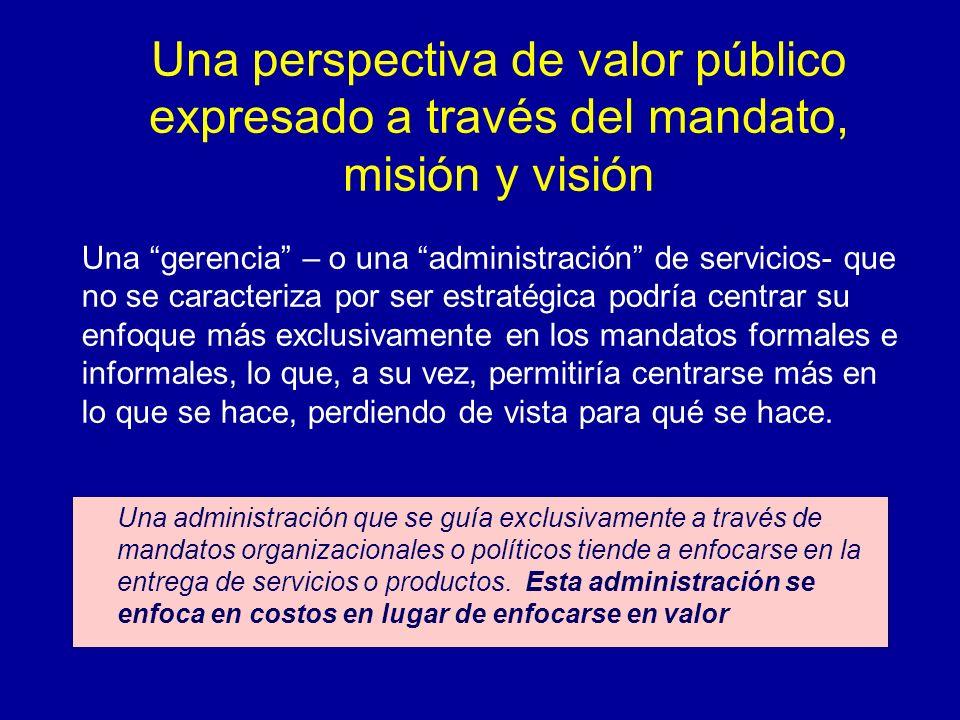 Una perspectiva de valor público expresado a través del mandato, misión y visión
