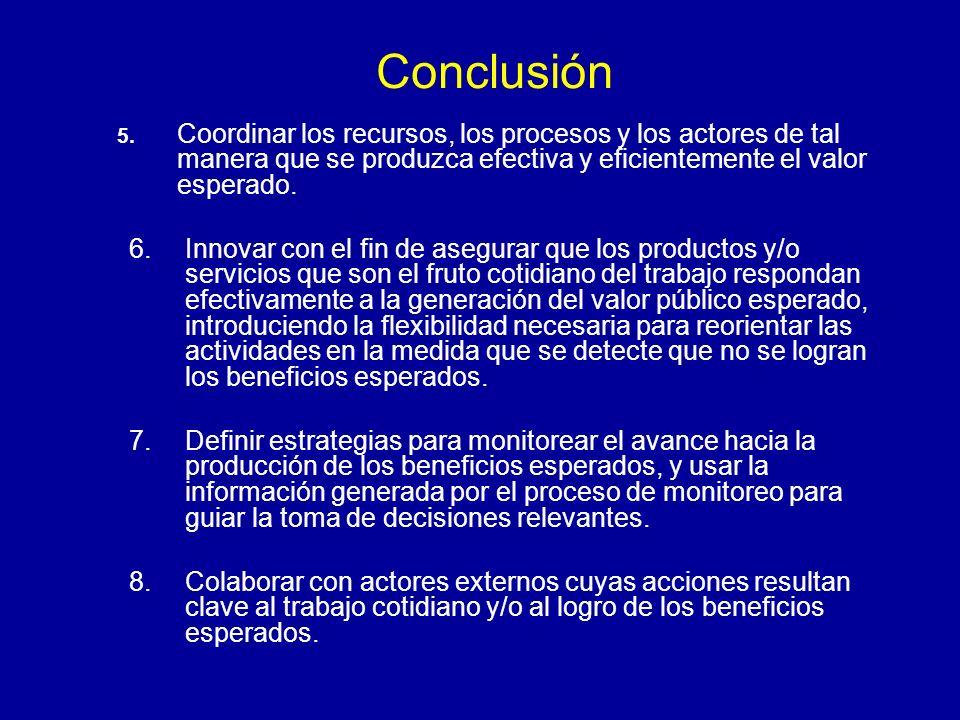 Conclusión 5. Coordinar los recursos, los procesos y los actores de tal manera que se produzca efectiva y eficientemente el valor esperado.