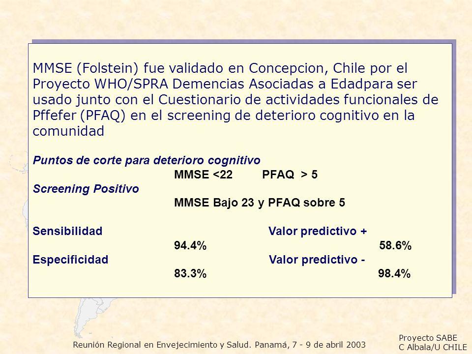 MMSE (Folstein) fue validado en Concepcion, Chile por el Proyecto WHO/SPRA Demencias Asociadas a Edadpara ser usado junto con el Cuestionario de actividades funcionales de Pffefer (PFAQ) en el screening de deterioro cognitivo en la comunidad