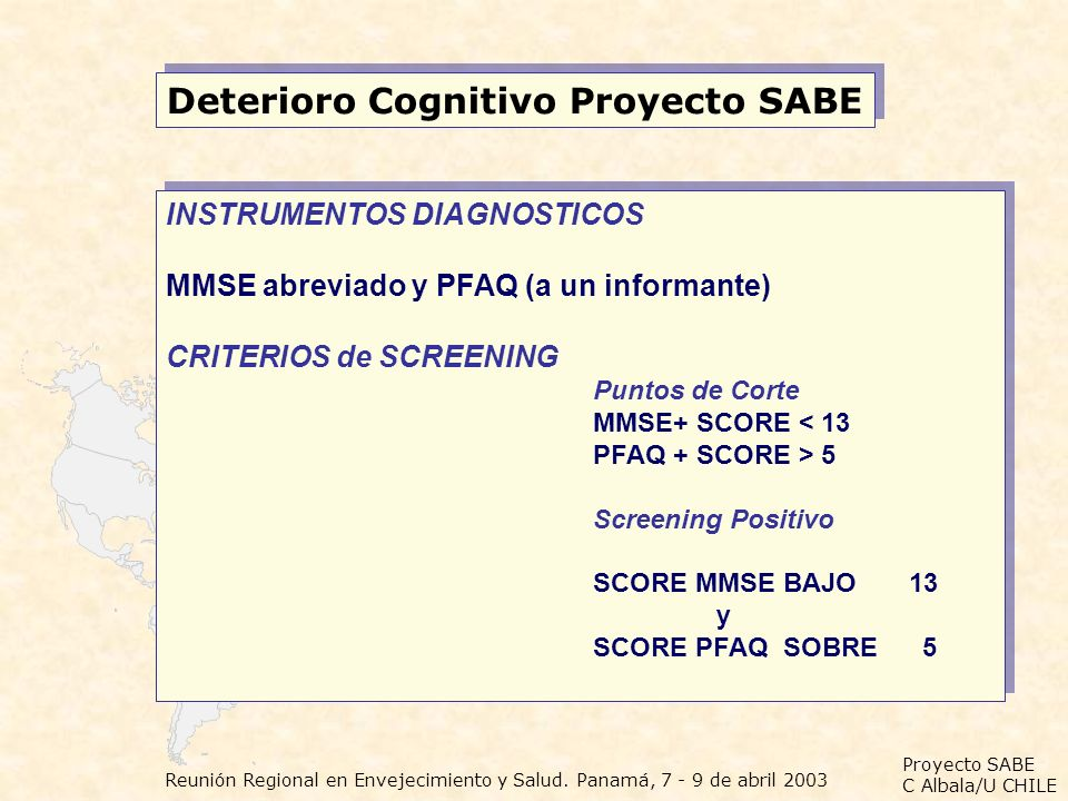 Deterioro Cognitivo Proyecto SABE