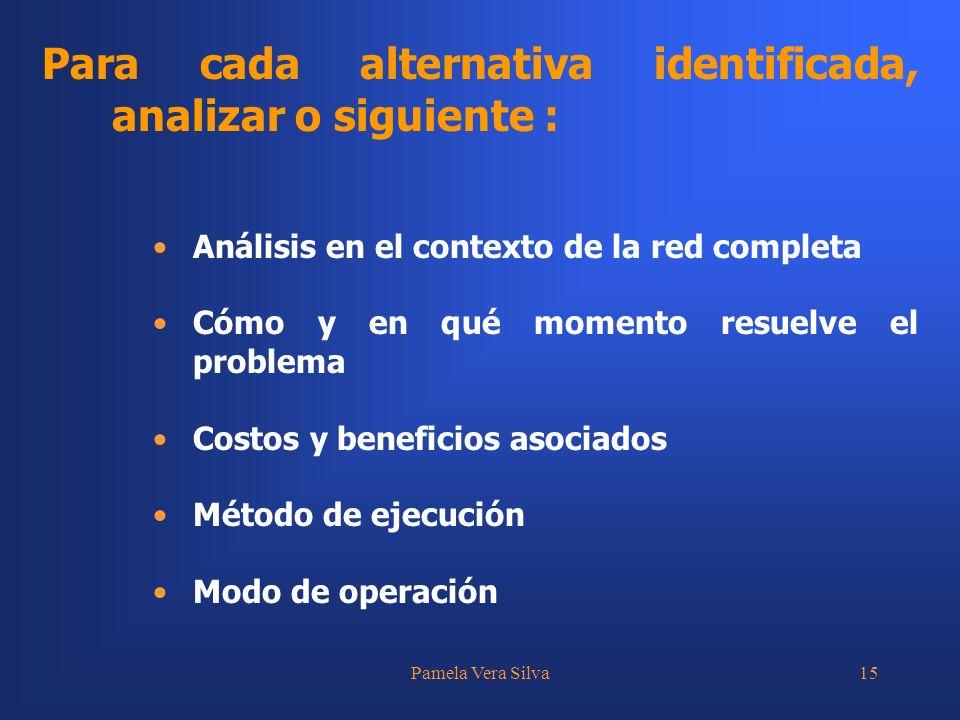 Para cada alternativa identificada, analizar o siguiente :