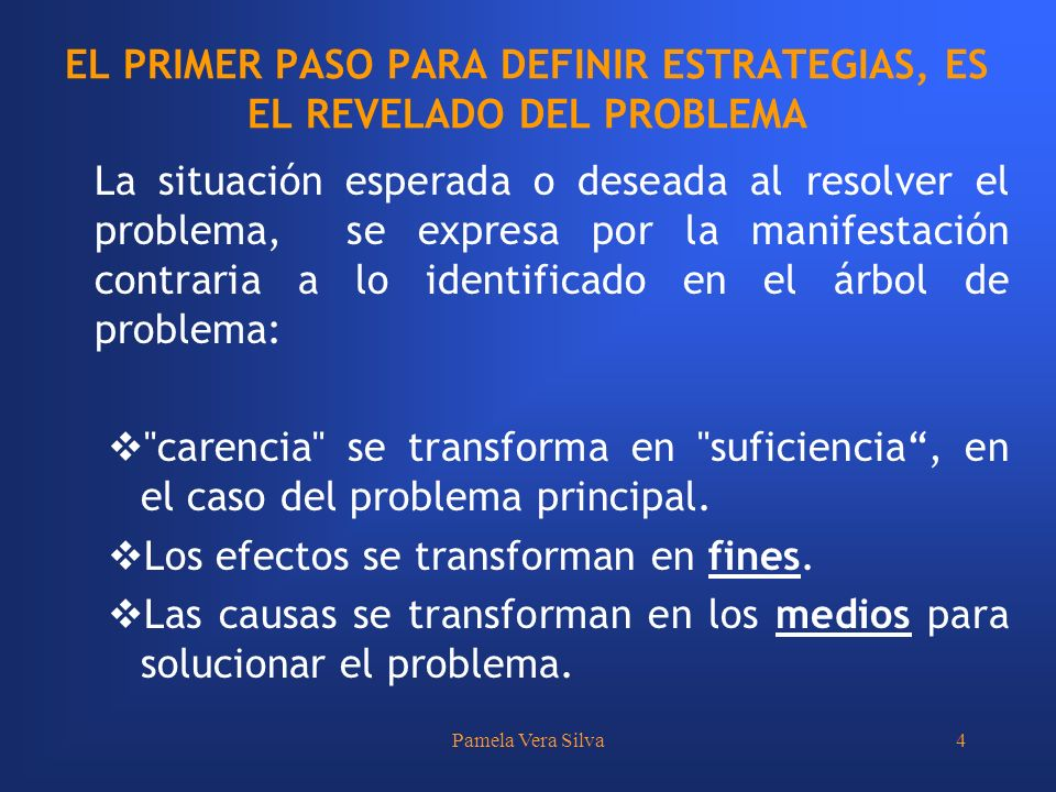 EL PRIMER PASO PARA DEFINIR ESTRATEGIAS, ES EL REVELADO DEL PROBLEMA