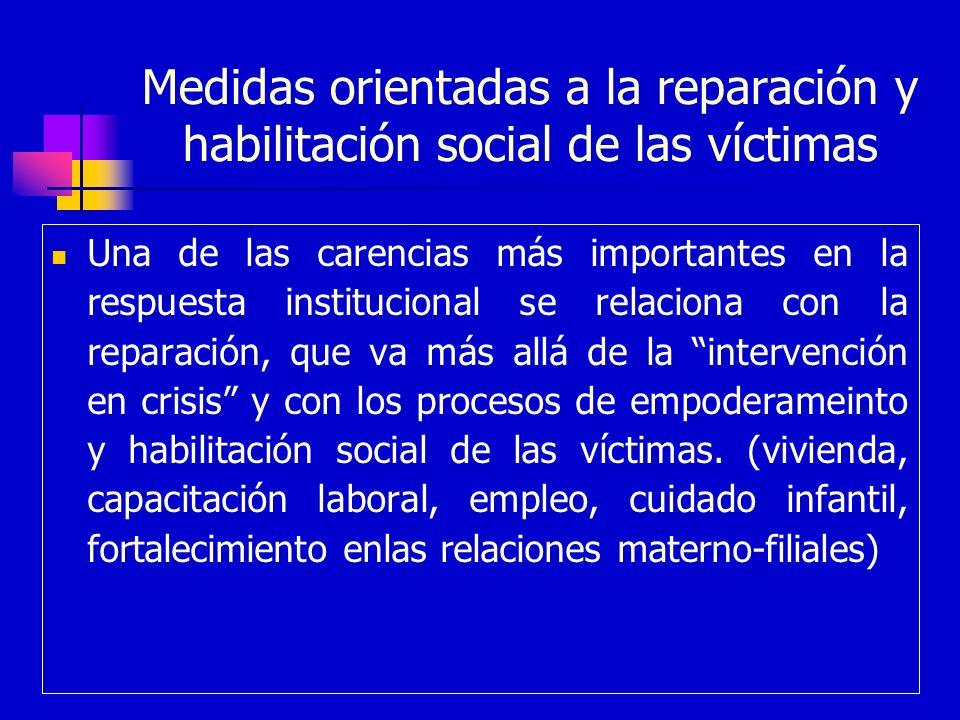 Medidas orientadas a la reparación y habilitación social de las víctimas