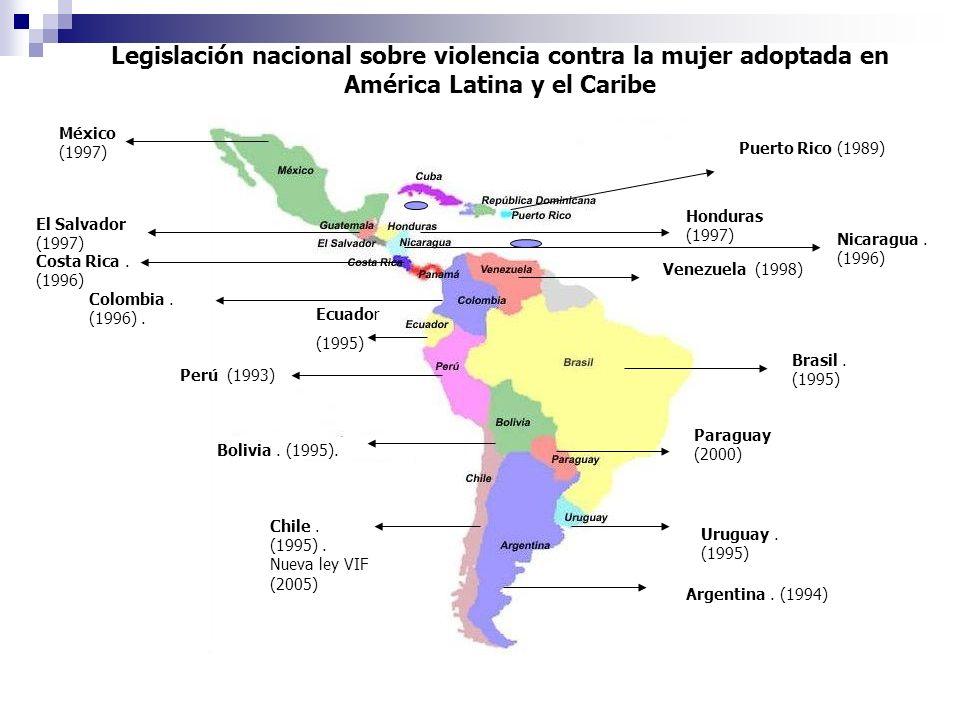 Legislación nacional sobre violencia contra la mujer adoptada en América Latina y el Caribe