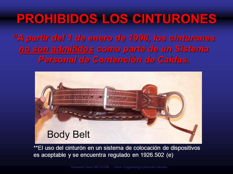 PROHIBIDOS LOS CINTURONES