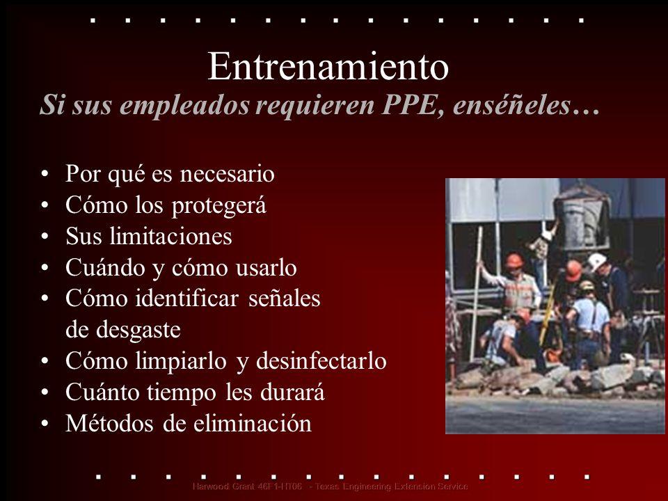 Entrenamiento Si sus empleados requieren PPE, enséñeles…