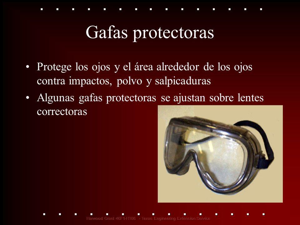 Gafas protectoras Protege los ojos y el área alrededor de los ojos contra impactos, polvo y salpicaduras.