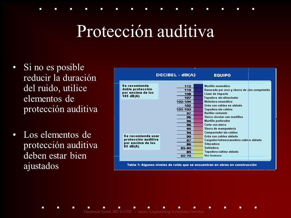 Protección auditiva Si no es posible reducir la duración del ruido, utilice elementos de protección auditiva.