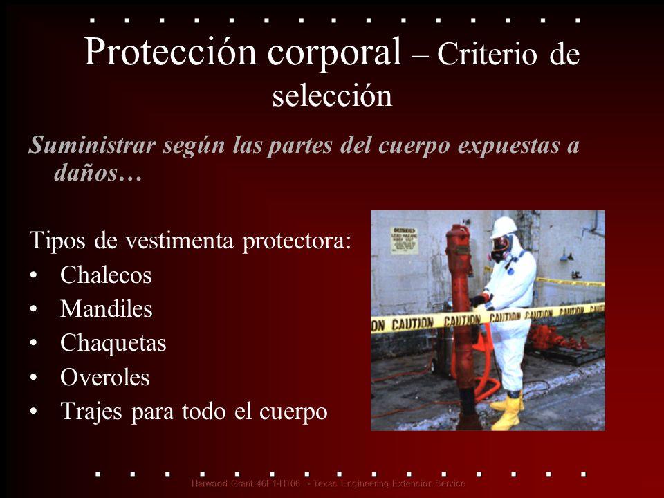 Protección corporal – Criterio de selección