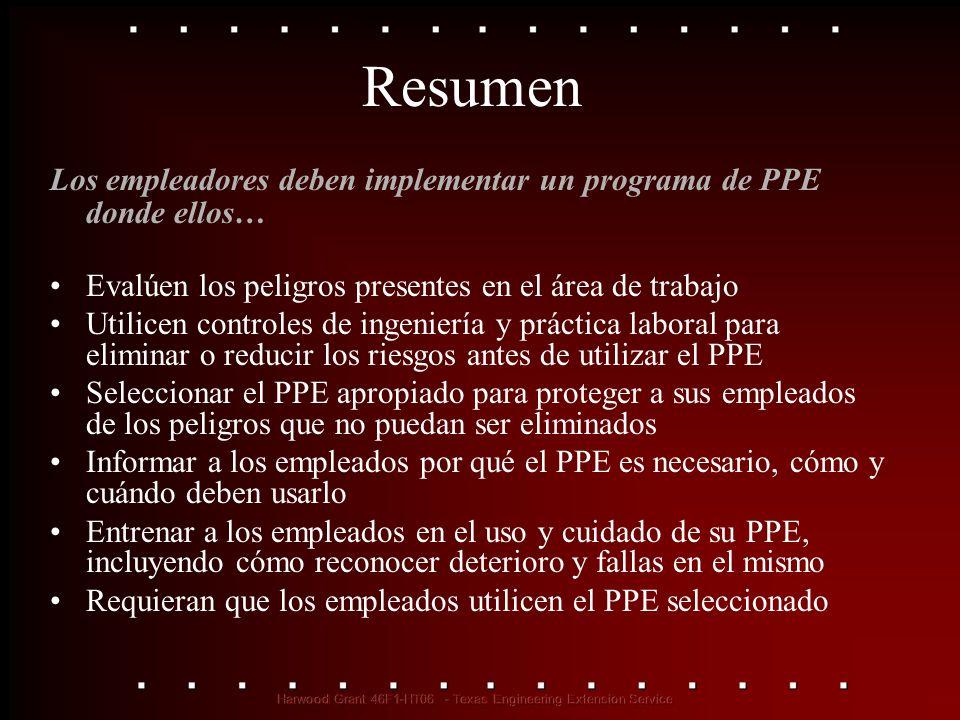 Resumen Los empleadores deben implementar un programa de PPE donde ellos… Evalúen los peligros presentes en el área de trabajo.