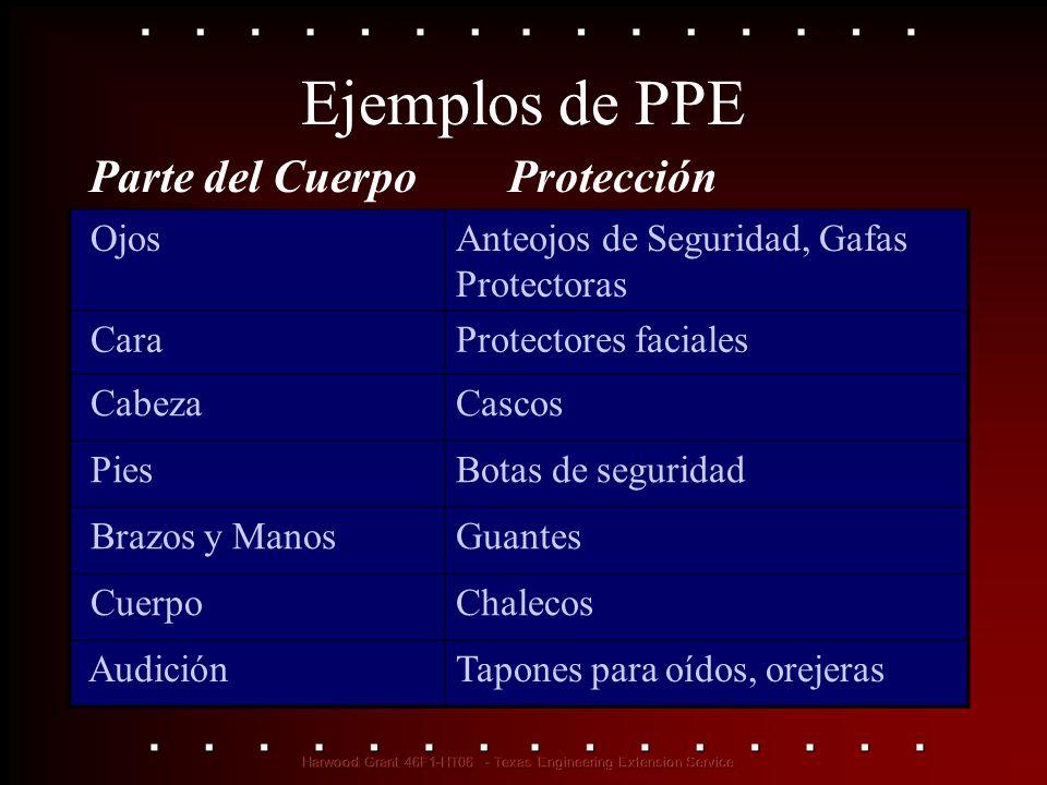 Ejemplos de PPE Parte del Cuerpo Protección Ojos