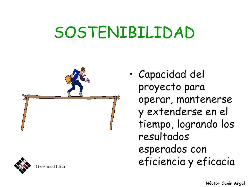 SOSTENIBILIDAD Capacidad del proyecto para operar, mantenerse y extenderse en el tiempo, logrando los resultados esperados con eficiencia y eficacia.
