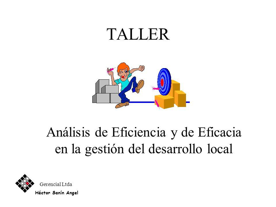 TALLER Análisis de Eficiencia y de Eficacia en la gestión del desarrollo local.