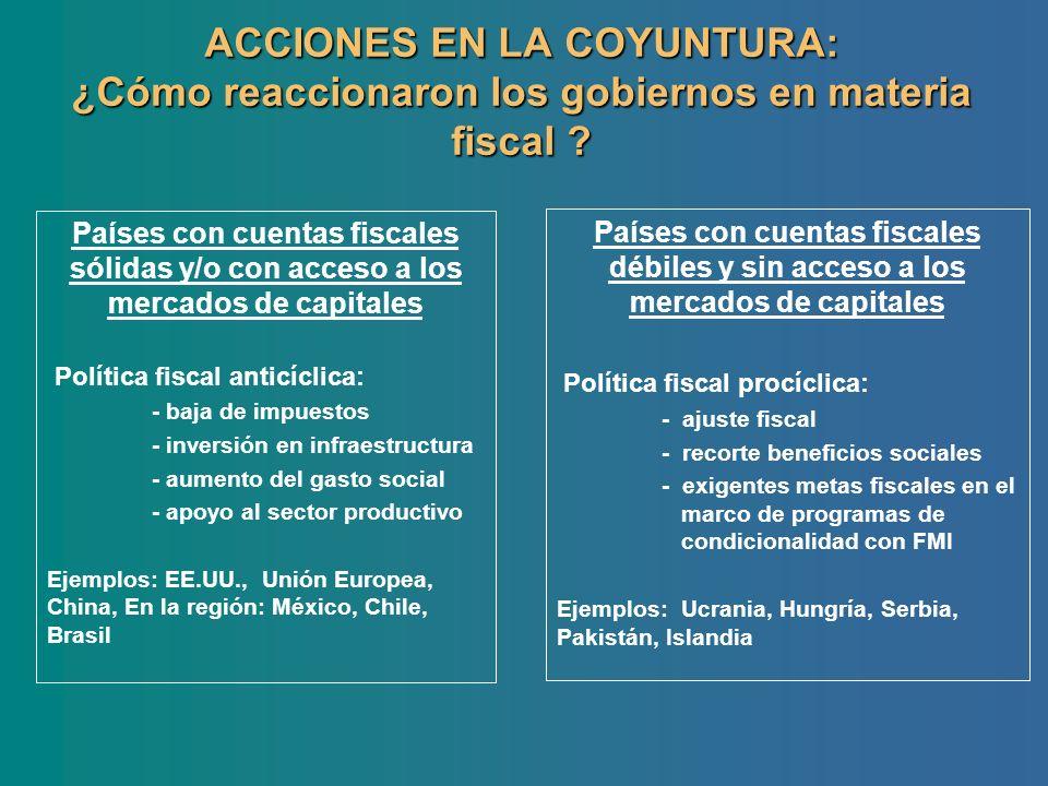 ACCIONES EN LA COYUNTURA: ¿Cómo reaccionaron los gobiernos en materia fiscal