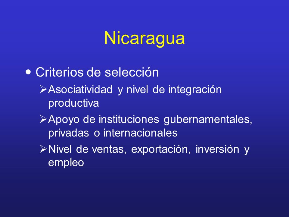 Nicaragua Criterios de selección