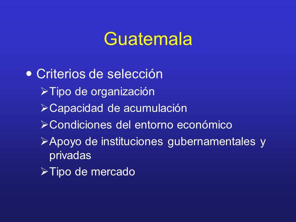 Guatemala Criterios de selección Tipo de organización