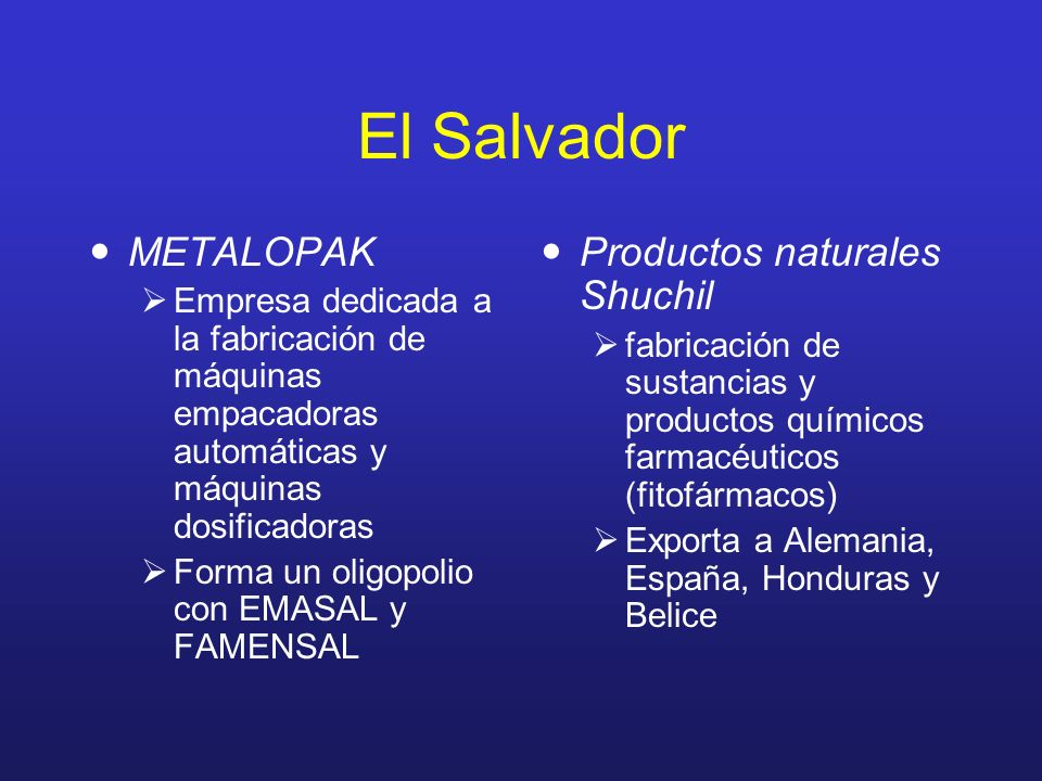 El Salvador METALOPAK Productos naturales Shuchil