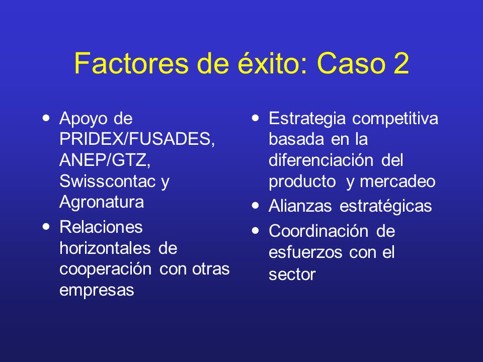 Factores de éxito: Caso 2
