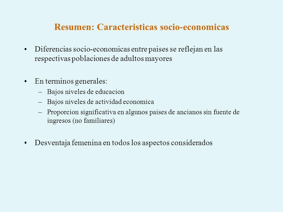 Resumen: Caracteristicas socio-economicas
