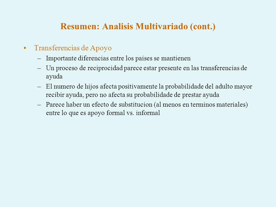 Resumen: Analisis Multivariado (cont.)