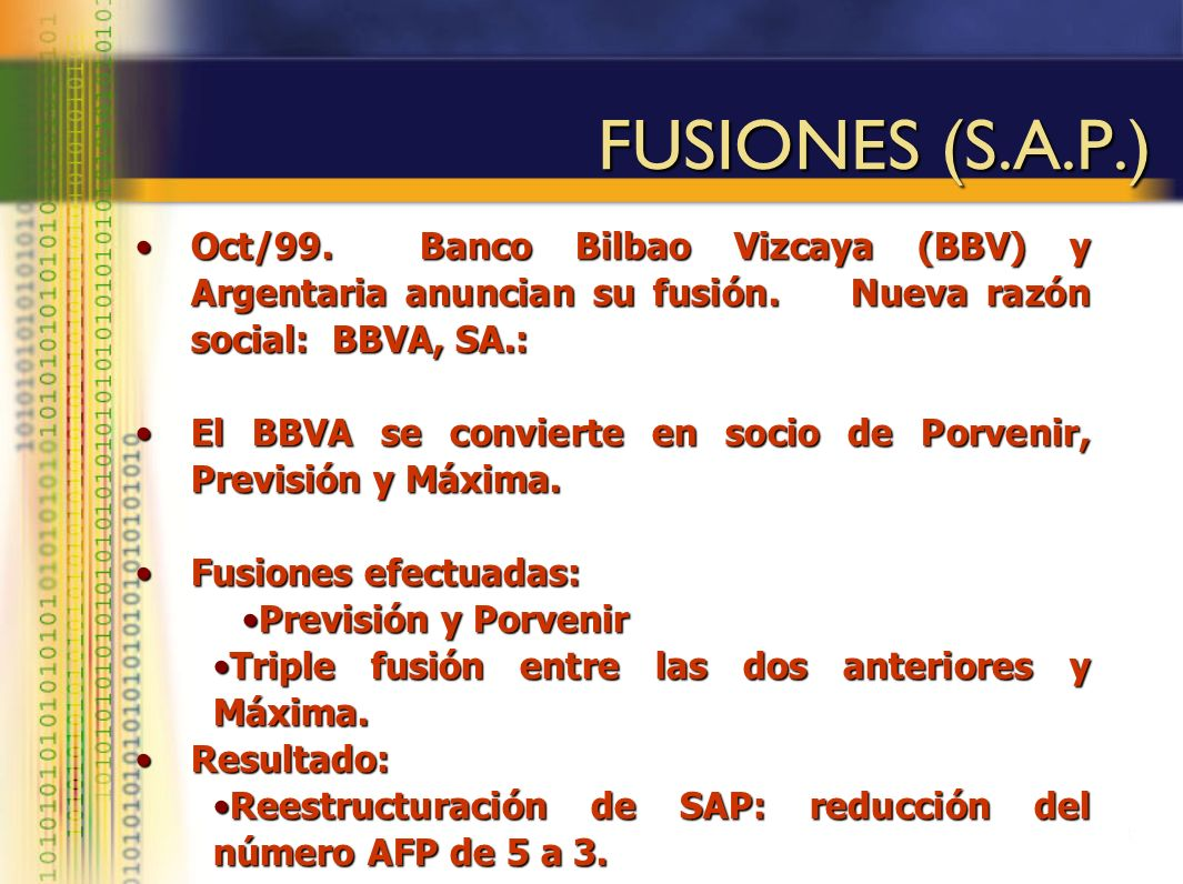 FUSIONES (S.A.P.) Oct/99. Banco Bilbao Vizcaya (BBV) y Argentaria anuncian su fusión. Nueva razón social: BBVA, SA.: