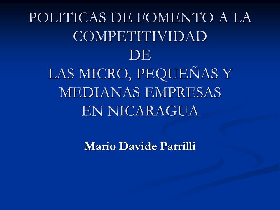 POLITICAS DE FOMENTO A LA COMPETITIVIDAD DE LAS MICRO, PEQUEÑAS Y MEDIANAS EMPRESAS EN NICARAGUA