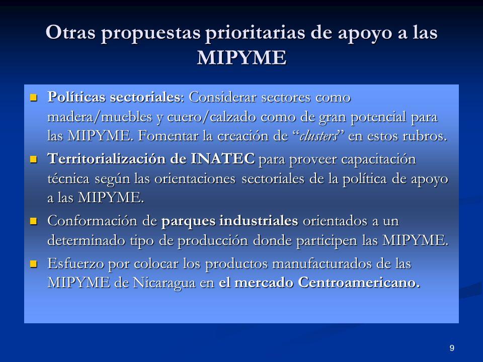 Otras propuestas prioritarias de apoyo a las MIPYME
