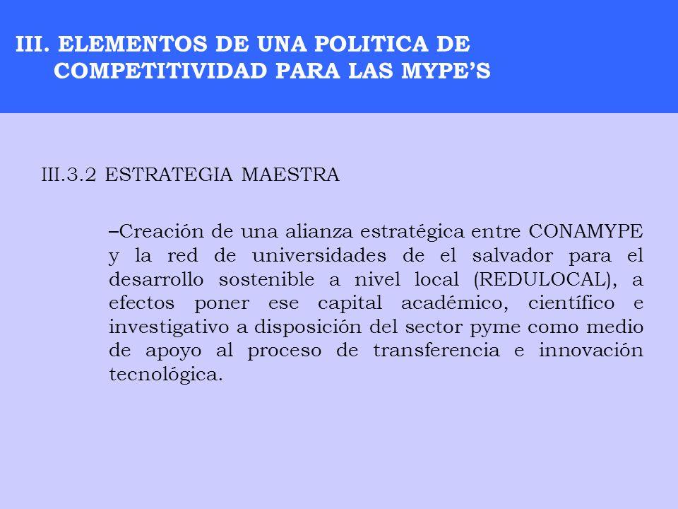 III. ELEMENTOS DE UNA POLITICA DE COMPETITIVIDAD PARA LAS MYPE'S