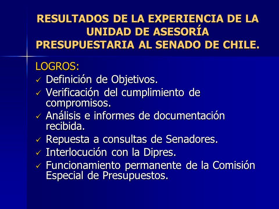 RESULTADOS DE LA EXPERIENCIA DE LA UNIDAD DE ASESORÍA PRESUPUESTARIA AL SENADO DE CHILE.