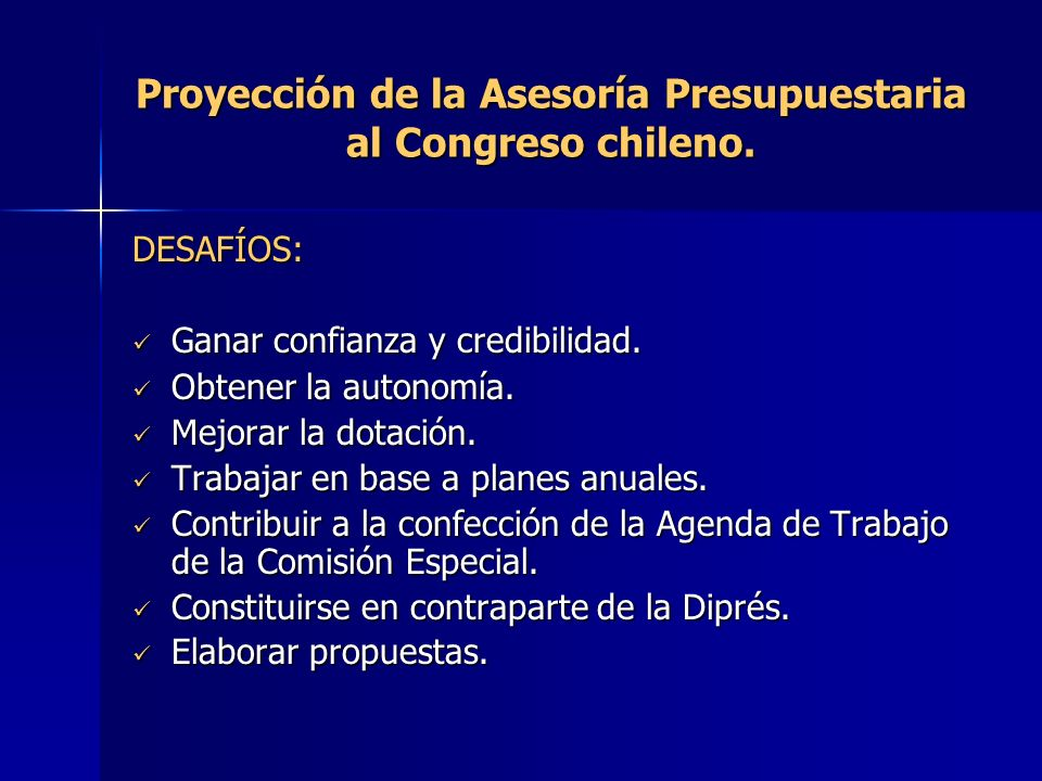 Proyección de la Asesoría Presupuestaria al Congreso chileno.