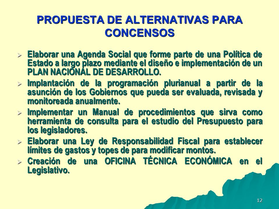 PROPUESTA DE ALTERNATIVAS PARA CONCENSOS