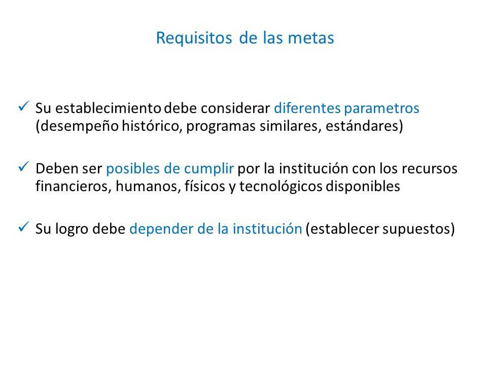 Requisitos de las metas