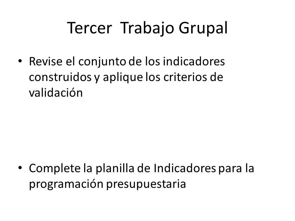 Tercer Trabajo Grupal Revise el conjunto de los indicadores construidos y aplique los criterios de validación.