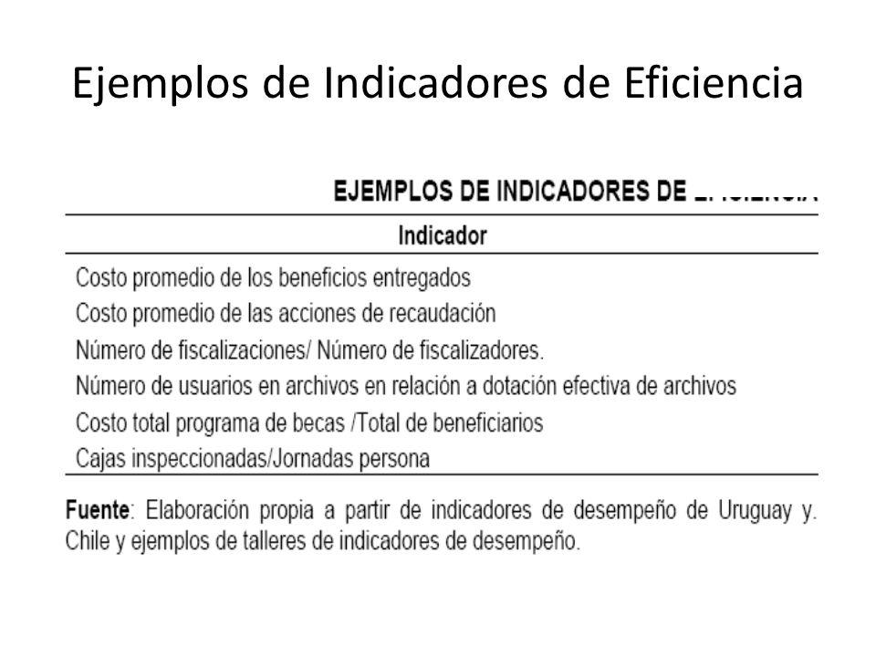 Ejemplos de Indicadores de Eficiencia