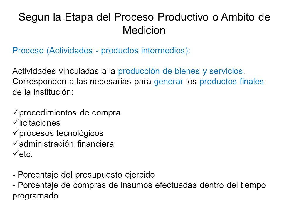 Segun la Etapa del Proceso Productivo o Ambito de Medicion