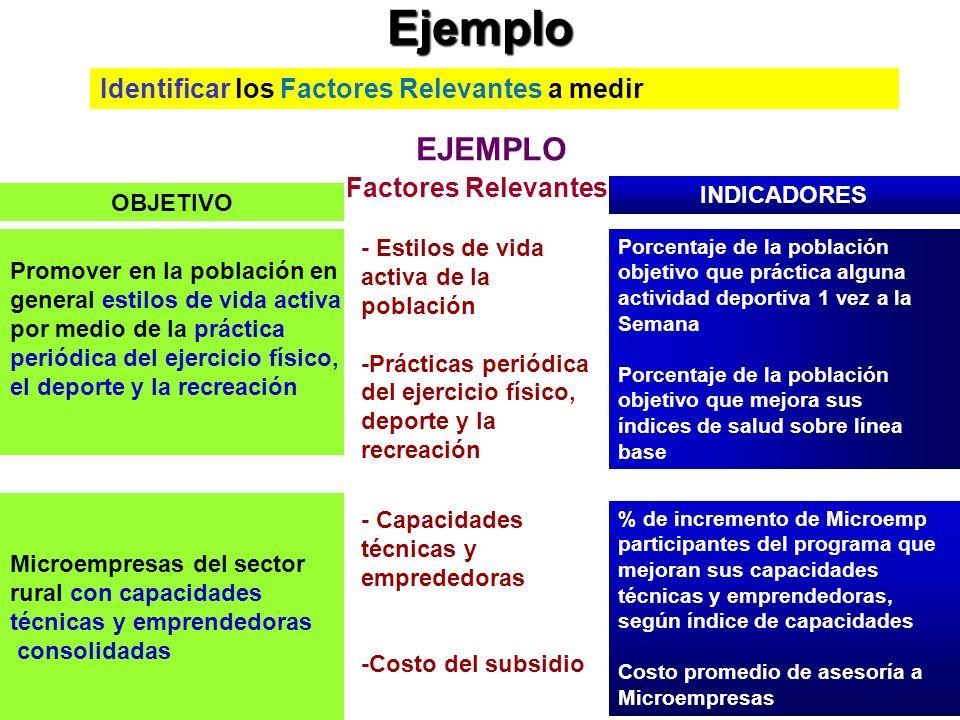 Ejemplo EJEMPLO Identificar los Factores Relevantes a medir