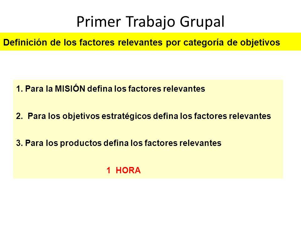 Primer Trabajo Grupal Definición de los factores relevantes por categoría de objetivos. 1. Para la MISIÓN defina los factores relevantes.