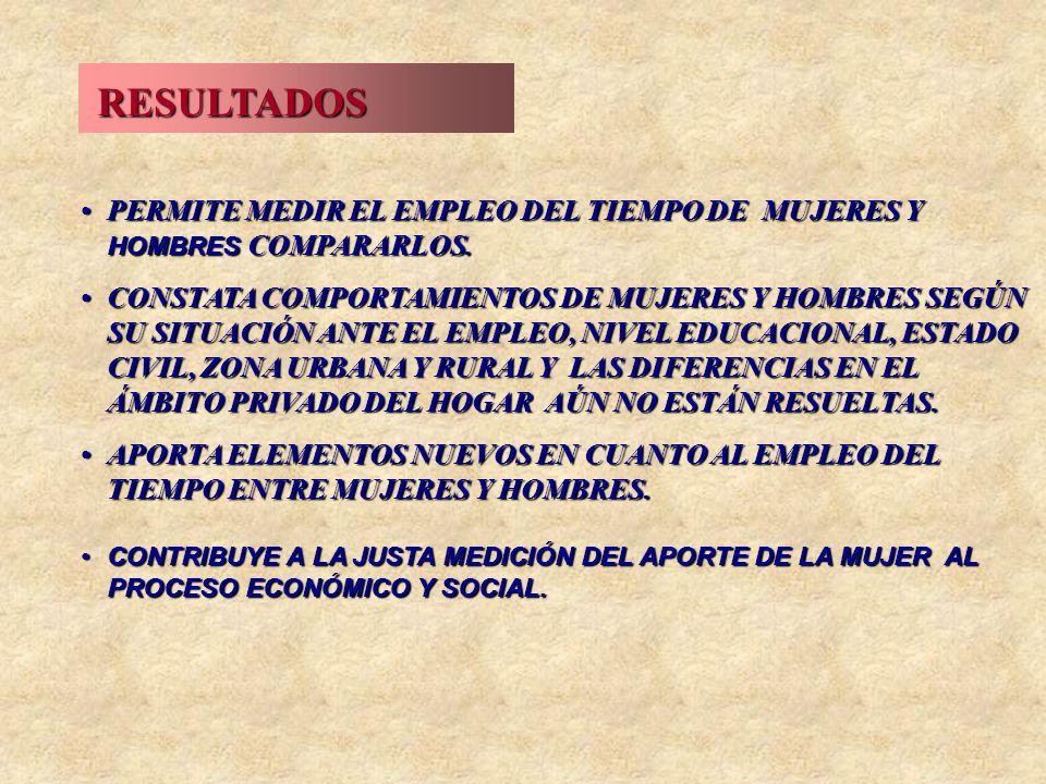 RESULTADOSPERMITE MEDIR EL EMPLEO DEL TIEMPO DE MUJERES Y HOMBRES COMPARARLOS.