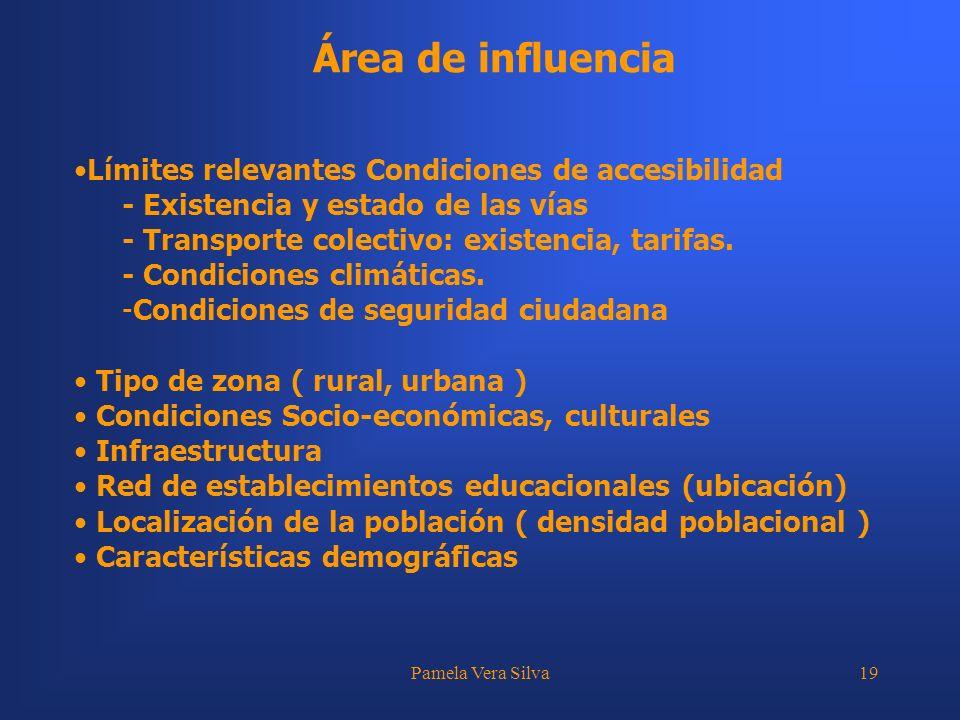 Área de influencia Límites relevantes Condiciones de accesibilidad