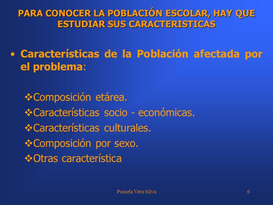 Características de la Población afectada por el problema: