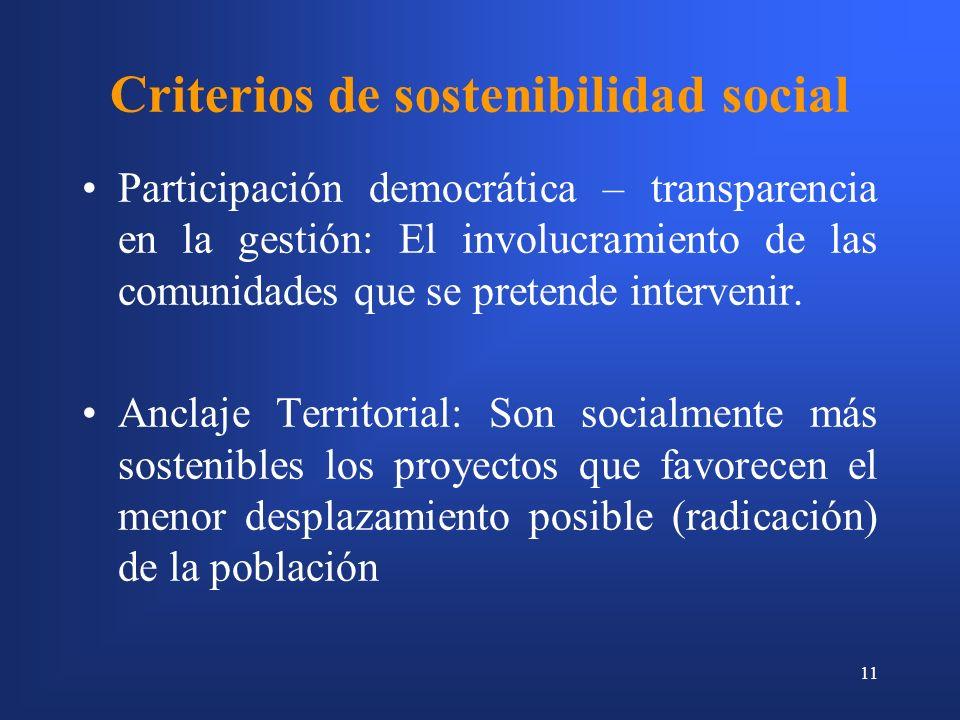 Criterios de sostenibilidad social